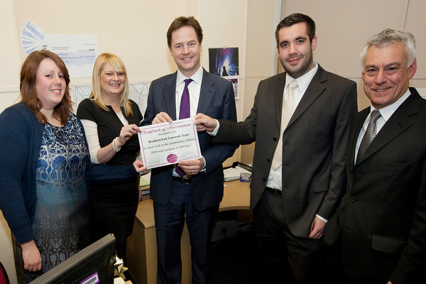 Nick Clegg visit to Bradford with David Ward